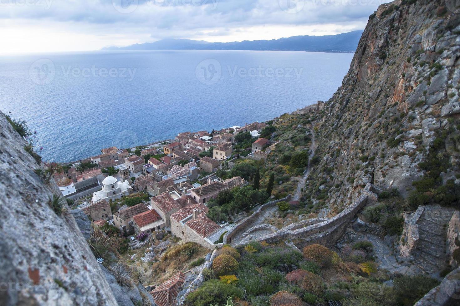 bovenaanzicht van monemvasia, Griekenland. foto