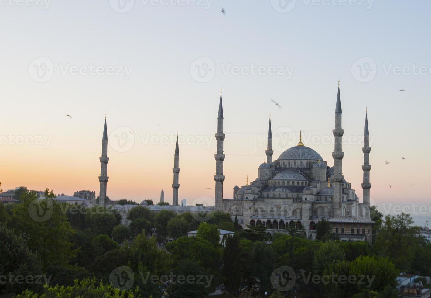blauwe moskee en hagia sophia foto
