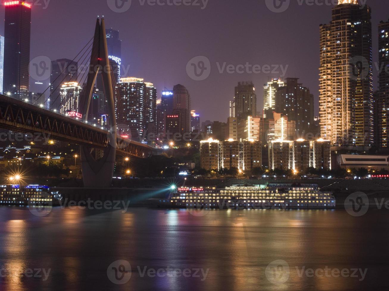 de nacht van de yangzi rivier foto