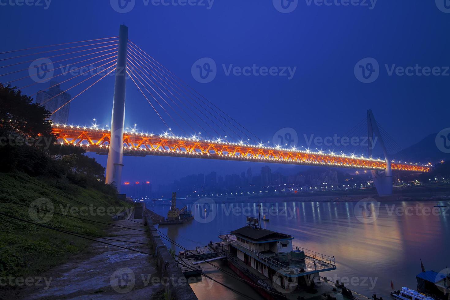 chongqing dubbele kabelbrug foto