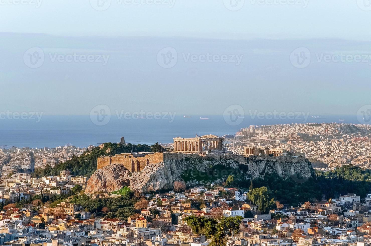uitzicht op de berg Akropolis in Griekenland foto