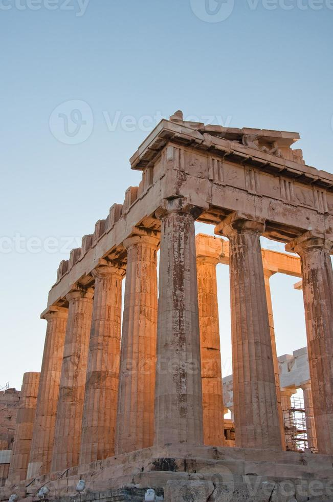 detail van het parthenon op de Atheense Akropolis, Griekenland foto