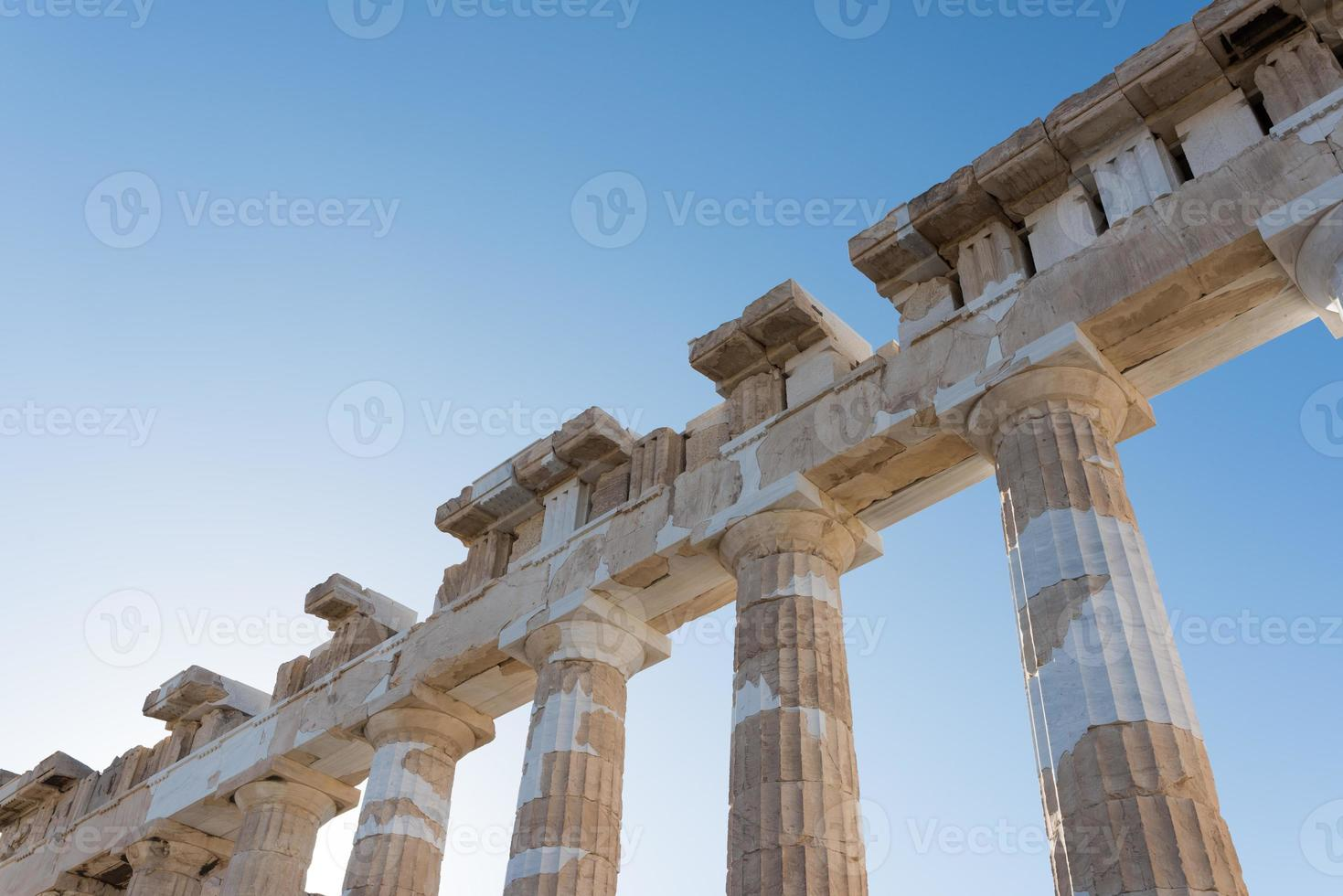 parthenon kolommen en architraven foto