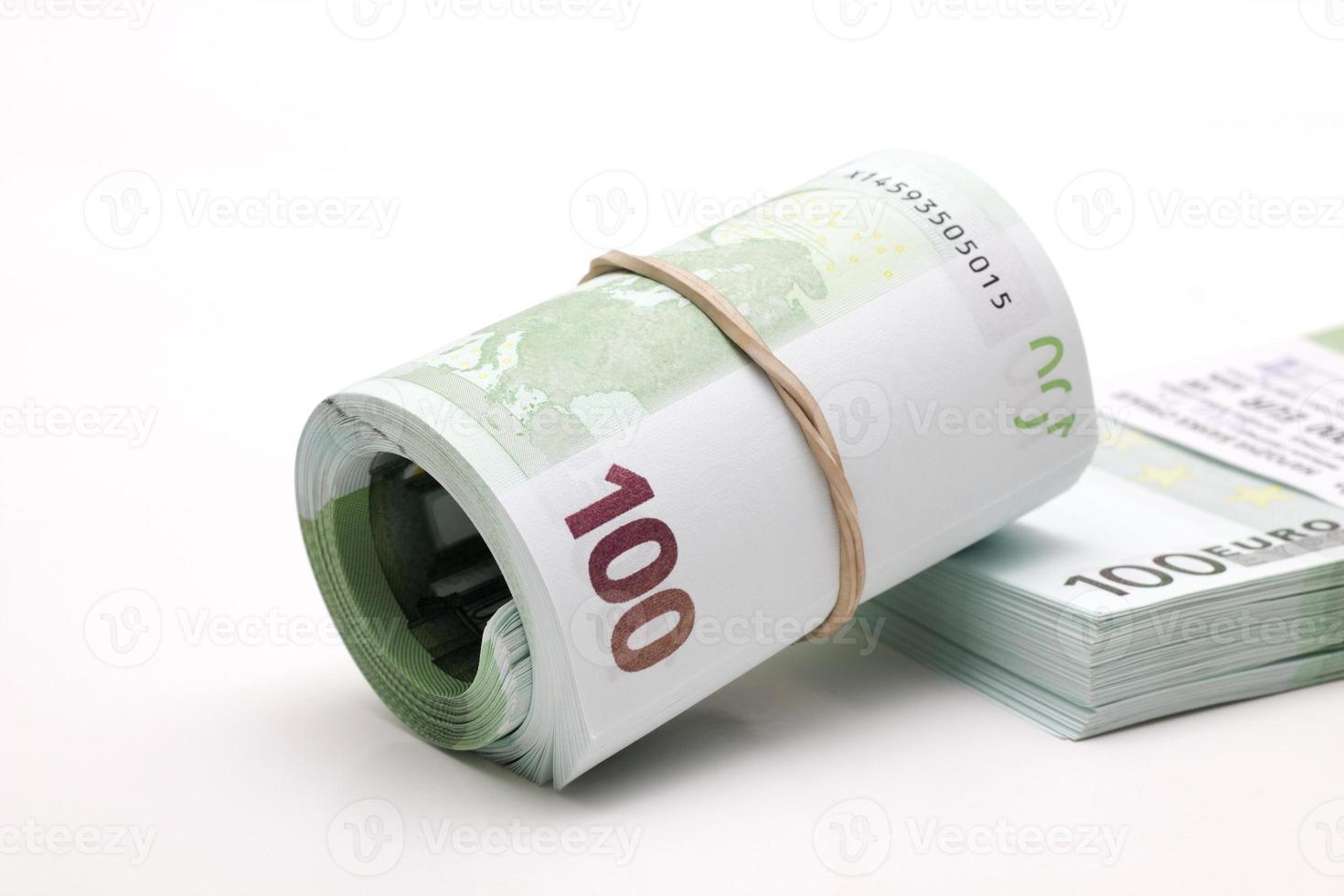 geld rollen en bundel foto