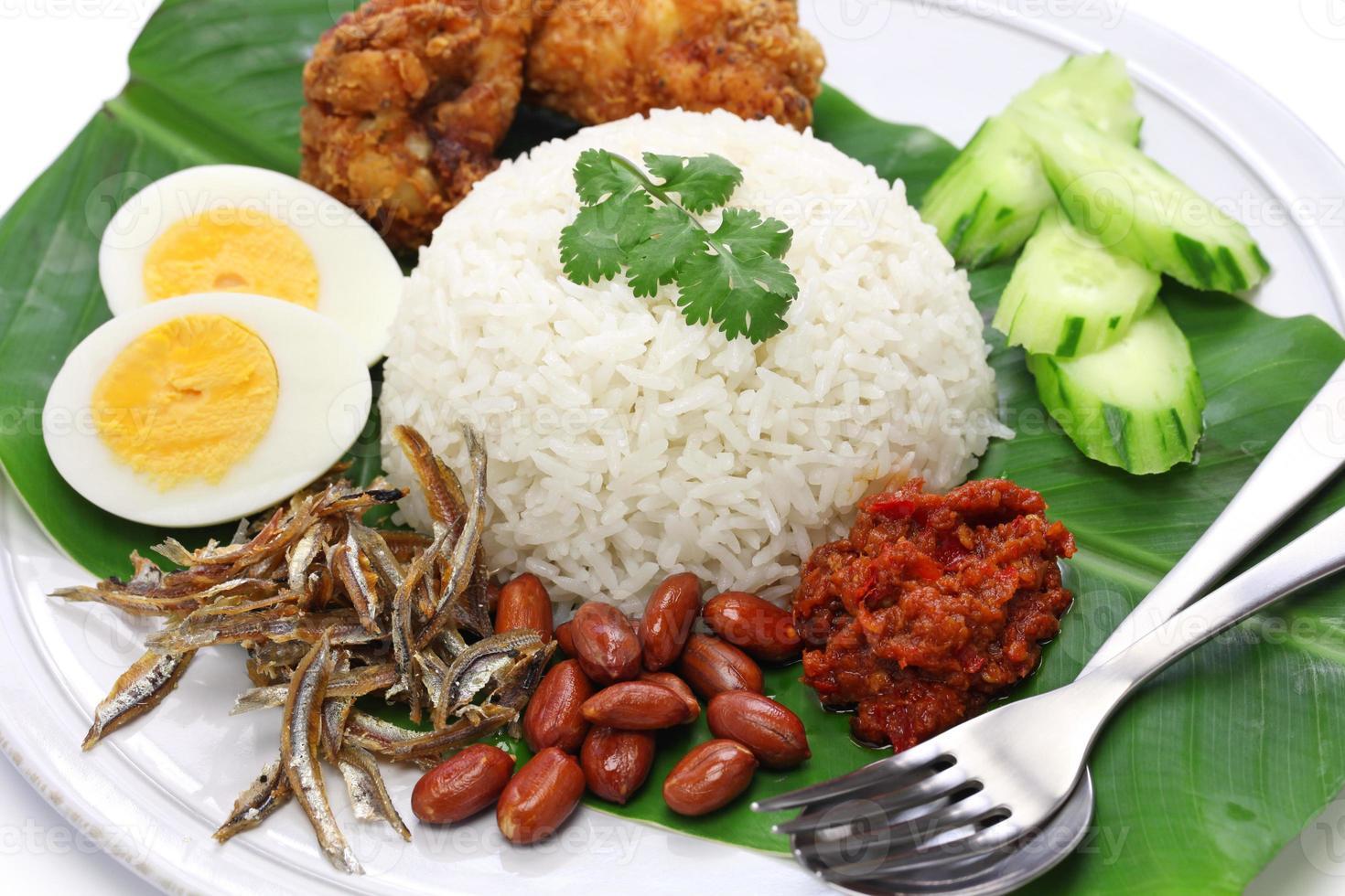 nasi lemak, kokosmelkrijst, maleisische keuken foto