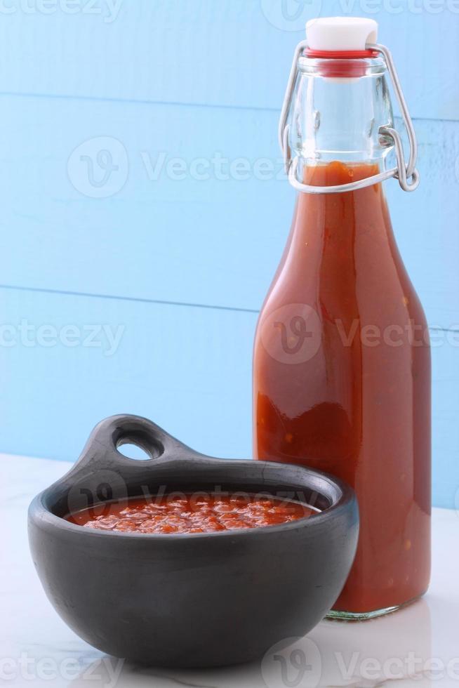 vintage rode hete saus foto