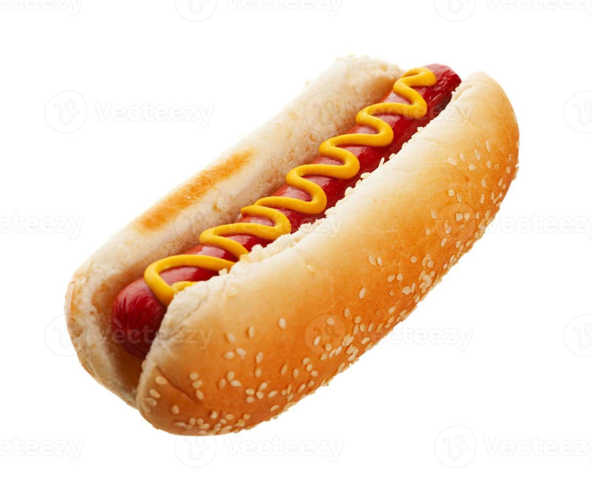 hotdog met mosterd foto