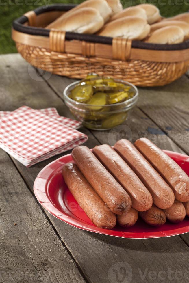 hotdogs in plaat foto