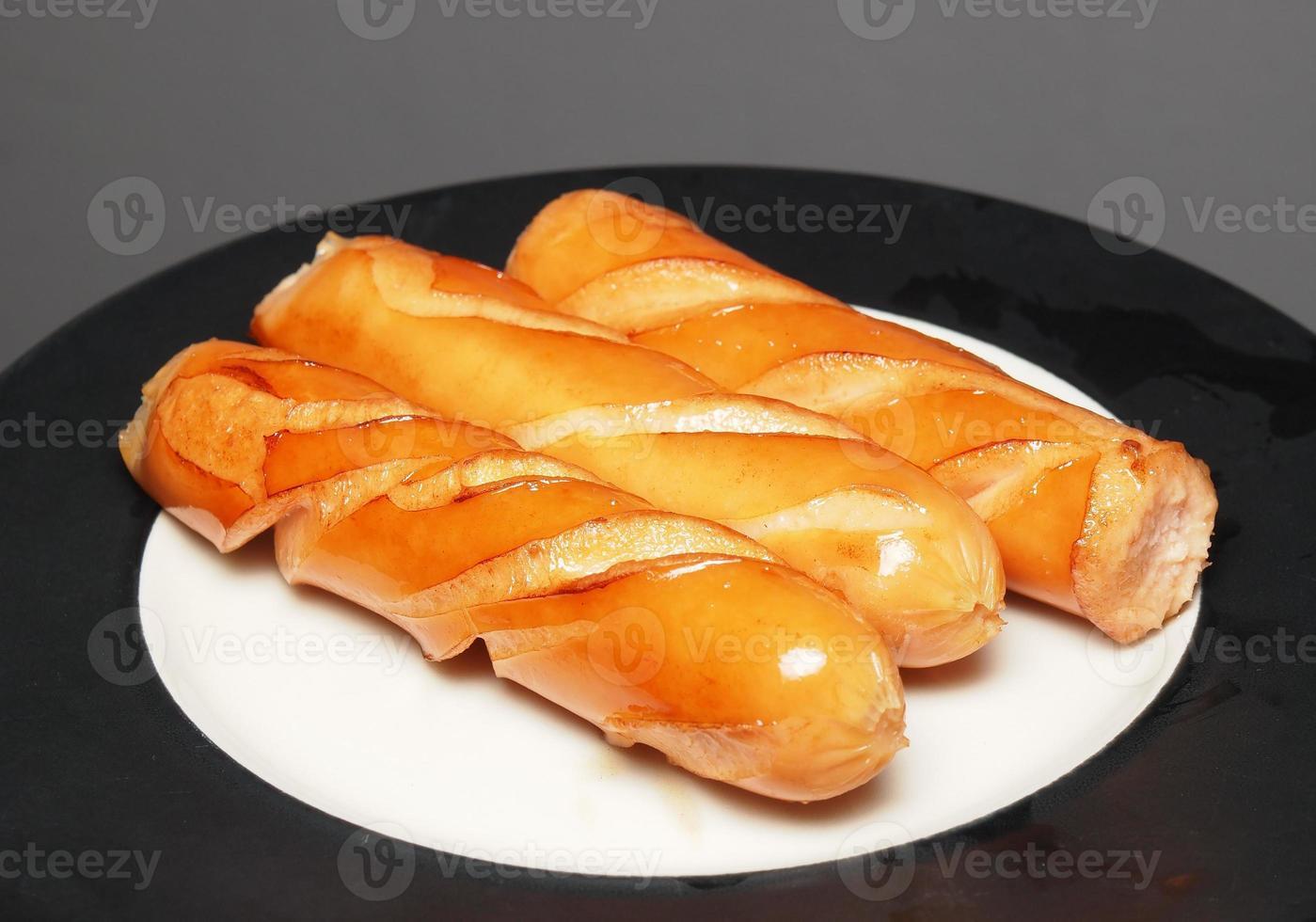 gebakken varkensworst hotdog foto