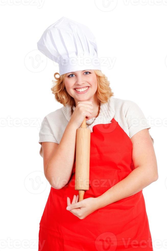 chef kok met hoed en rode schort foto