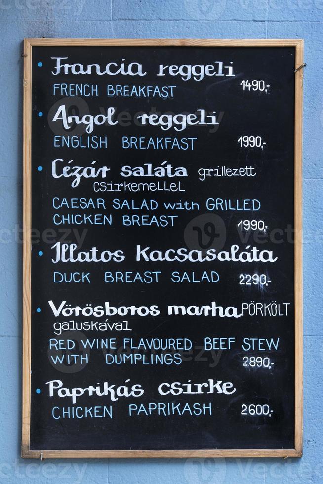 menu bord foto