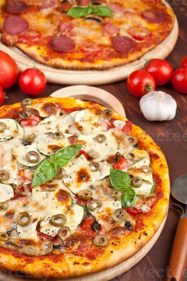 gezonde groenten en champignons pizza foto