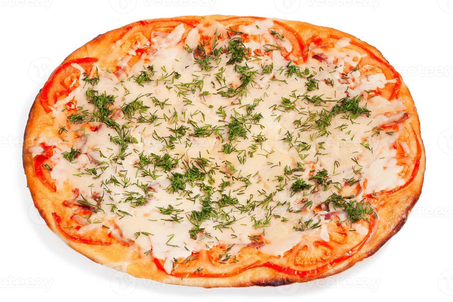 ovale pizza met kaas foto