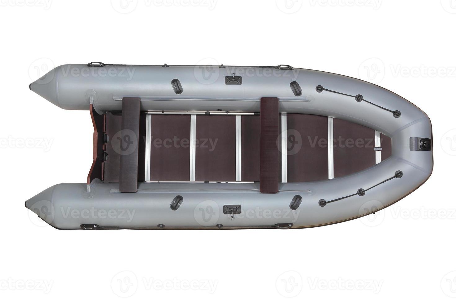 grijze, opblaasbare boot pvc, bovenaanzicht, geïsoleerd op wit. foto