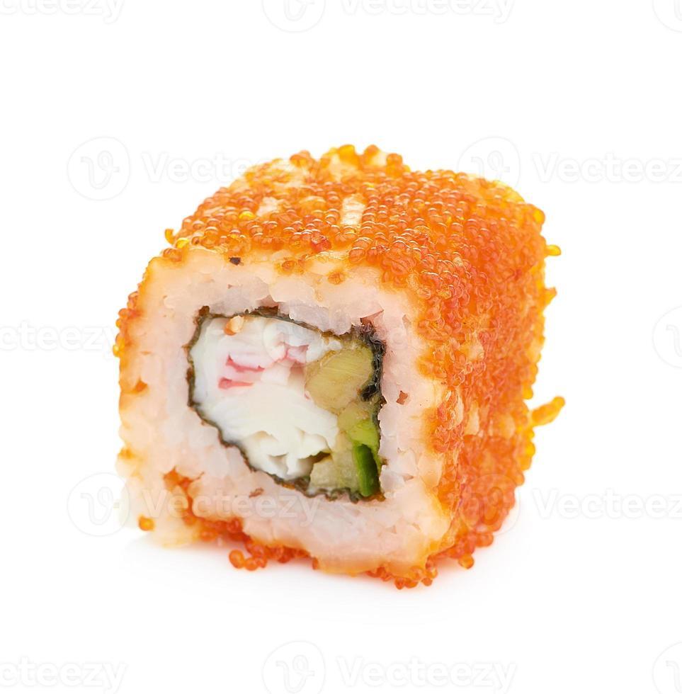 sushi die op wit worden geïsoleerd foto