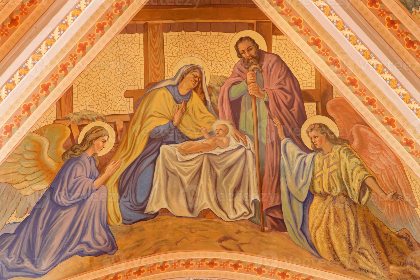 banska stiavnica - het fresco van de kerststal foto