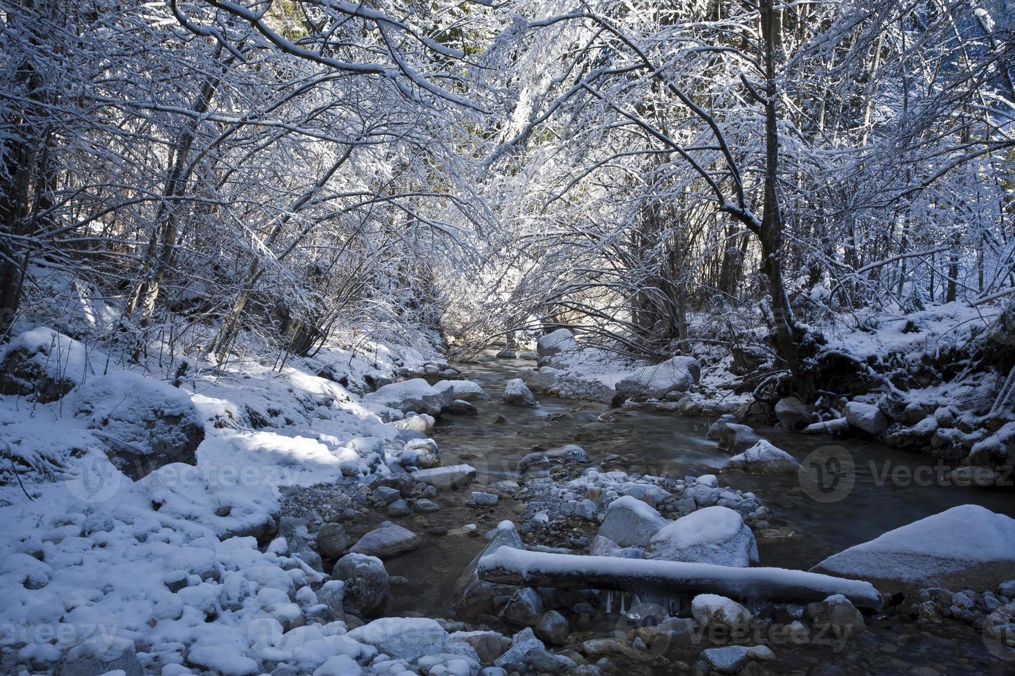 rivierbeek in de winter foto