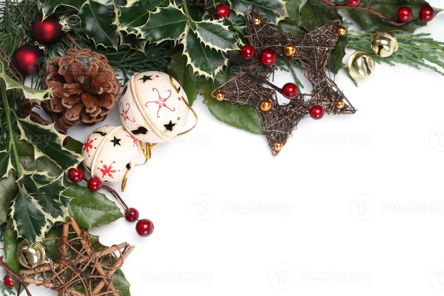 jingle bell en ster kerst frame foto