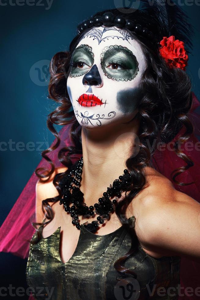 Halloween make-up suiker schedel foto
