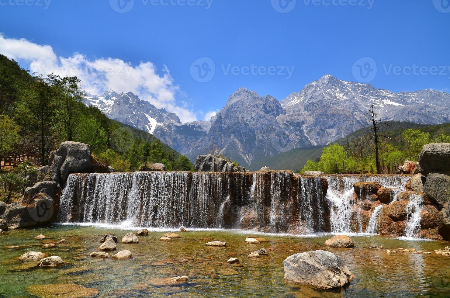 bergdal en waterval landschap foto