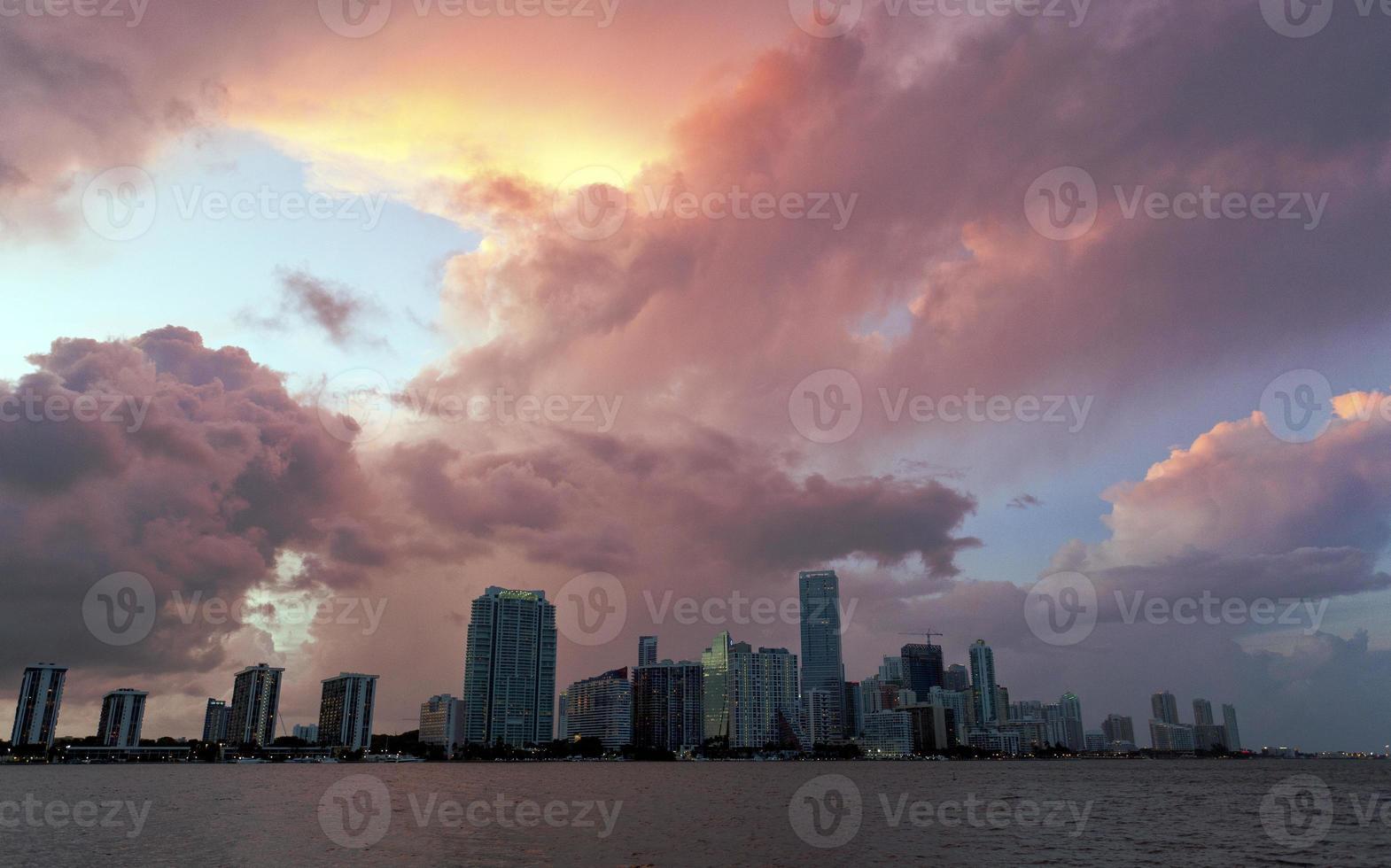Miami binnenstad zonsondergang foto