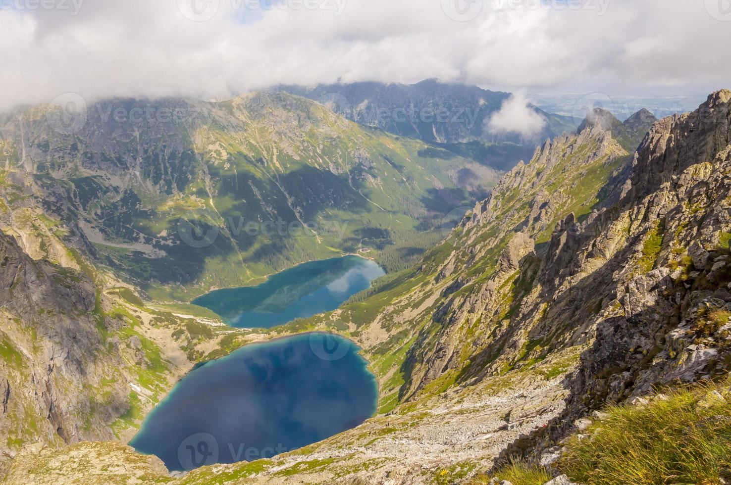 Black Lake onder Mount Rysy en Marine Eye Lake foto