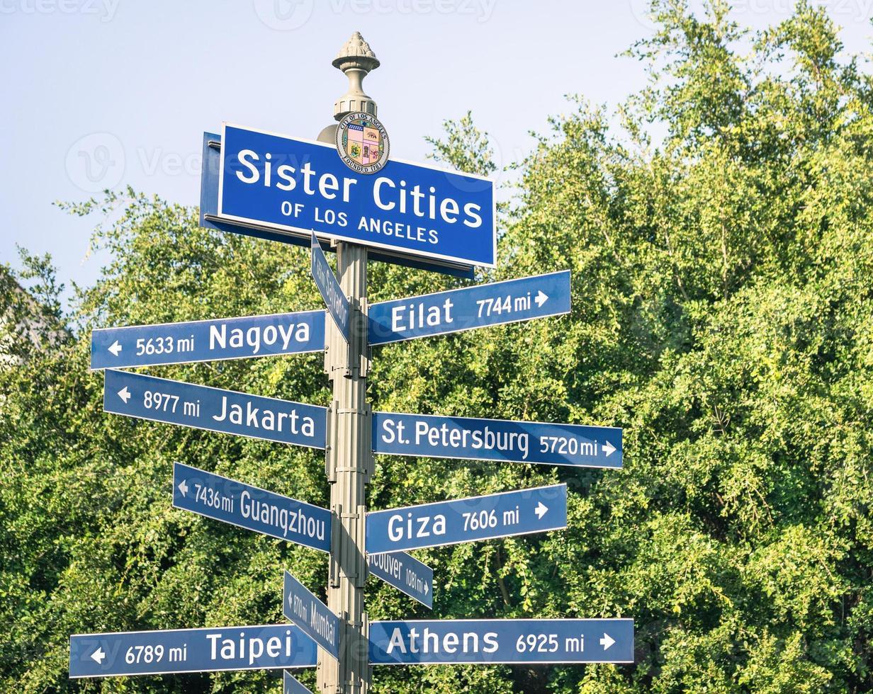 modern straatnaambord van zustersteden van los angeles foto