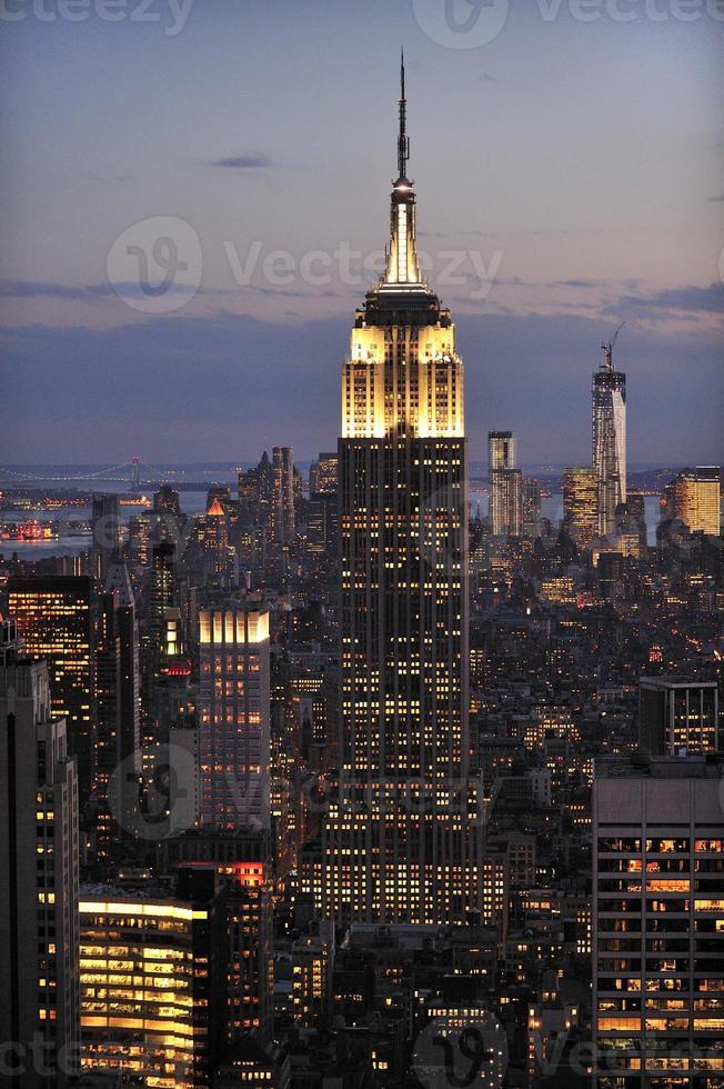 skyline van New York en Empire State Building, Manhattan foto