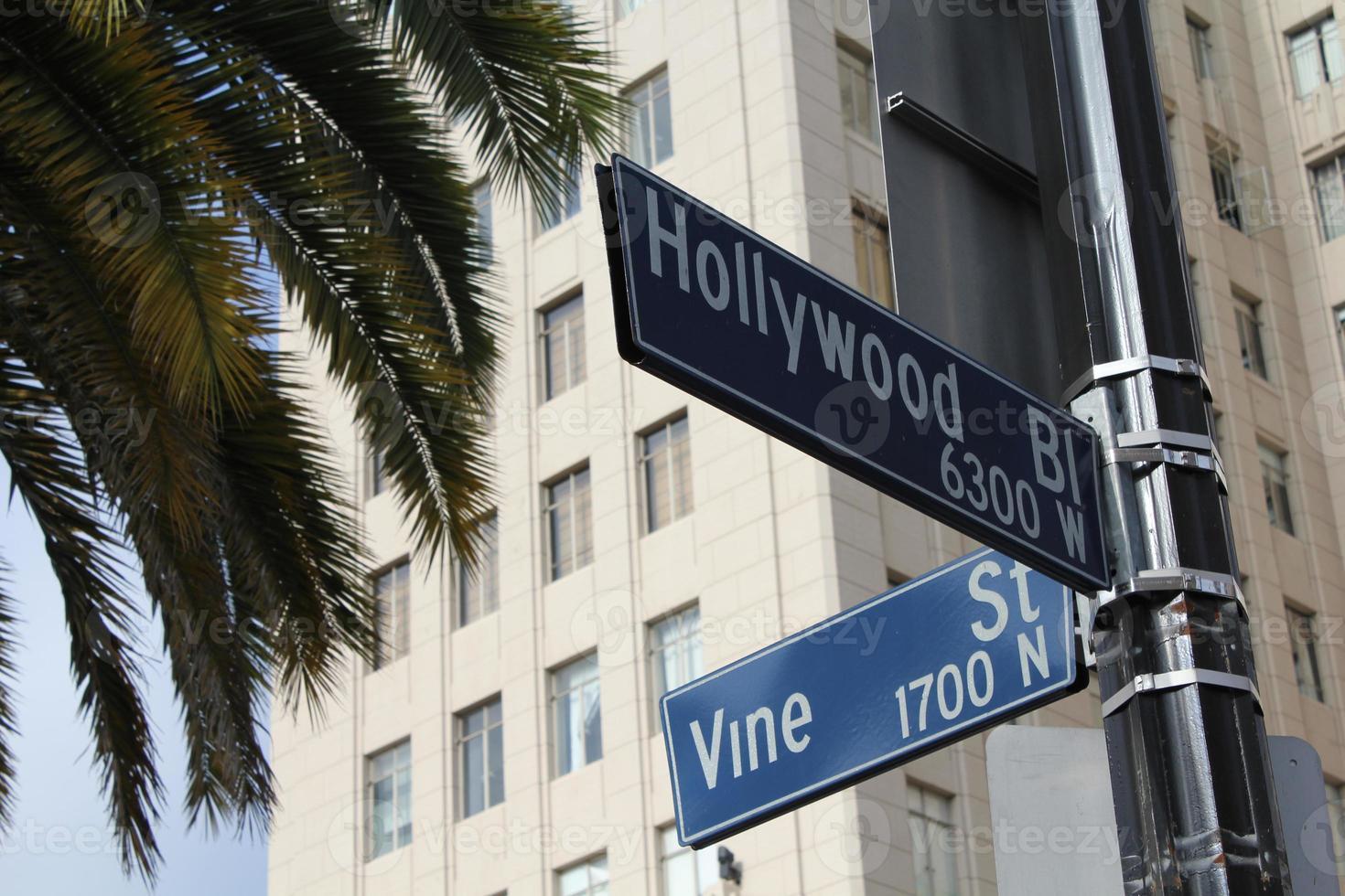 kruising van hollywood en vine foto