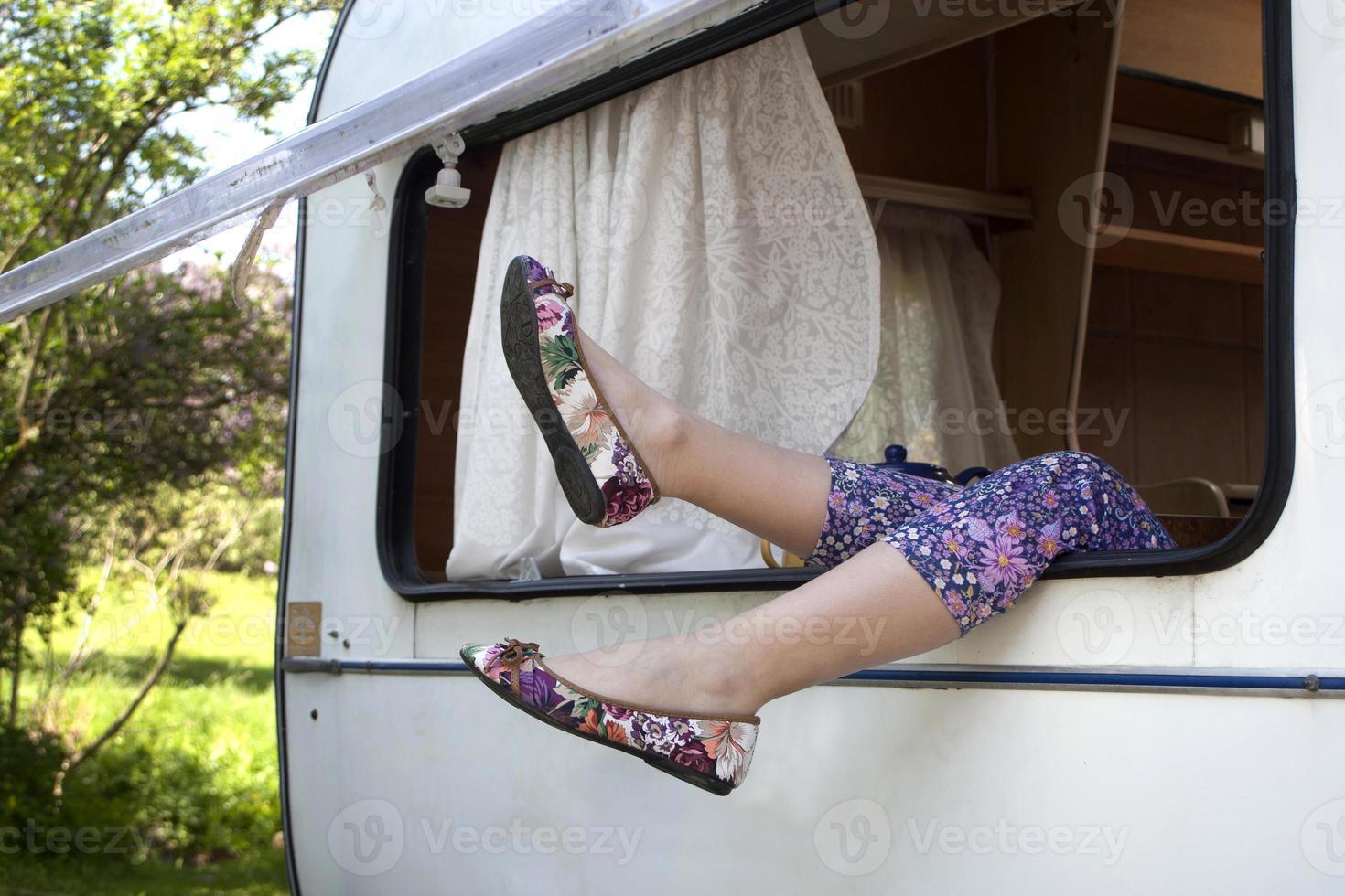 ontspanning in caravan foto