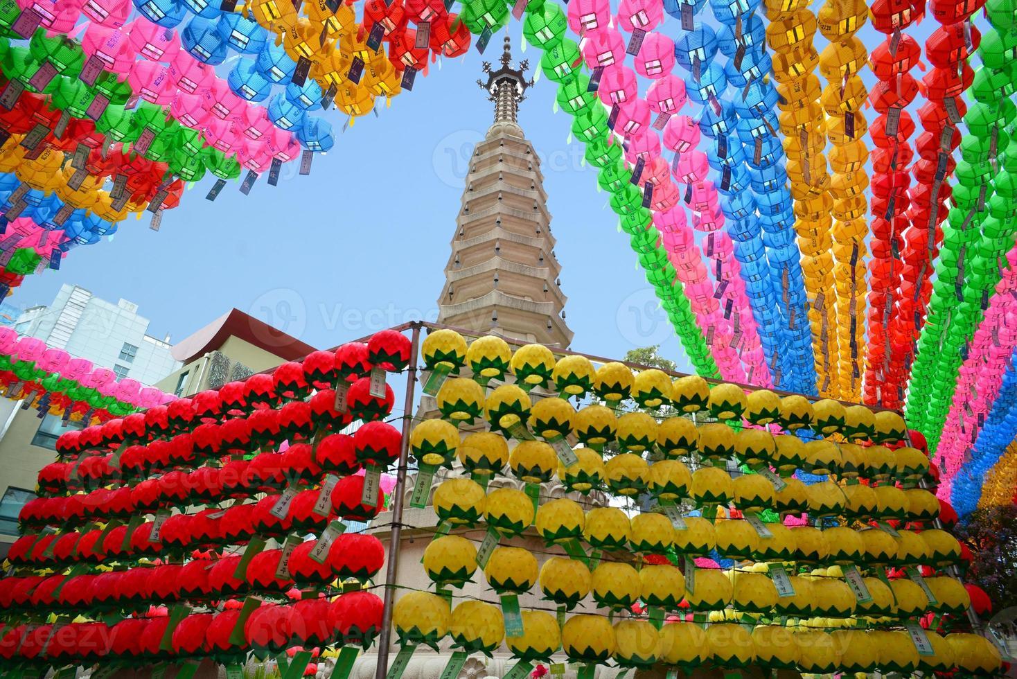 kleurrijke papieren lantaarns foto