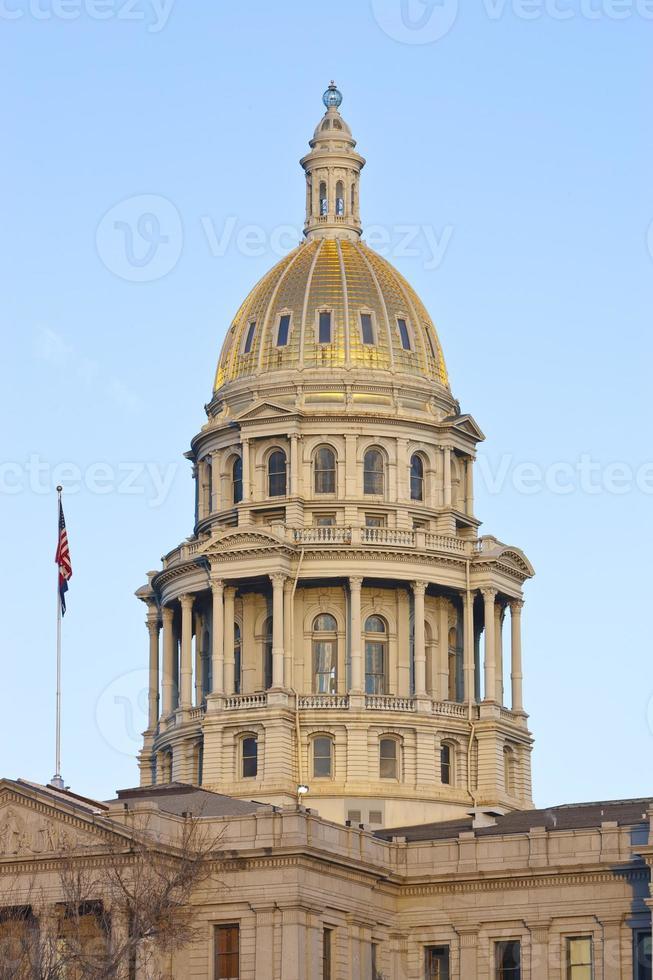 zonsonderganglicht op Colorado USA Capitol foto