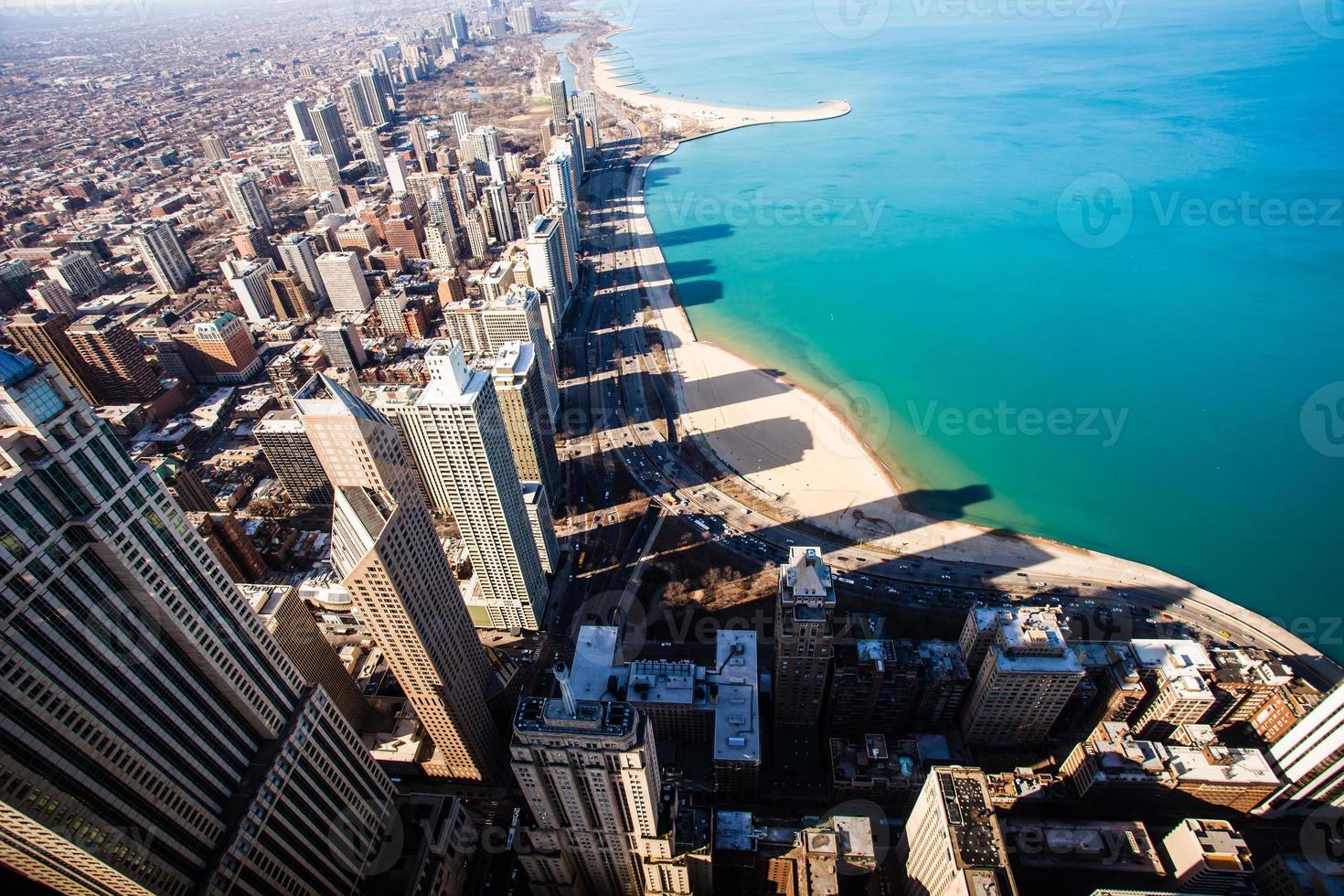 Luchtfoto van de skyline van chicago foto