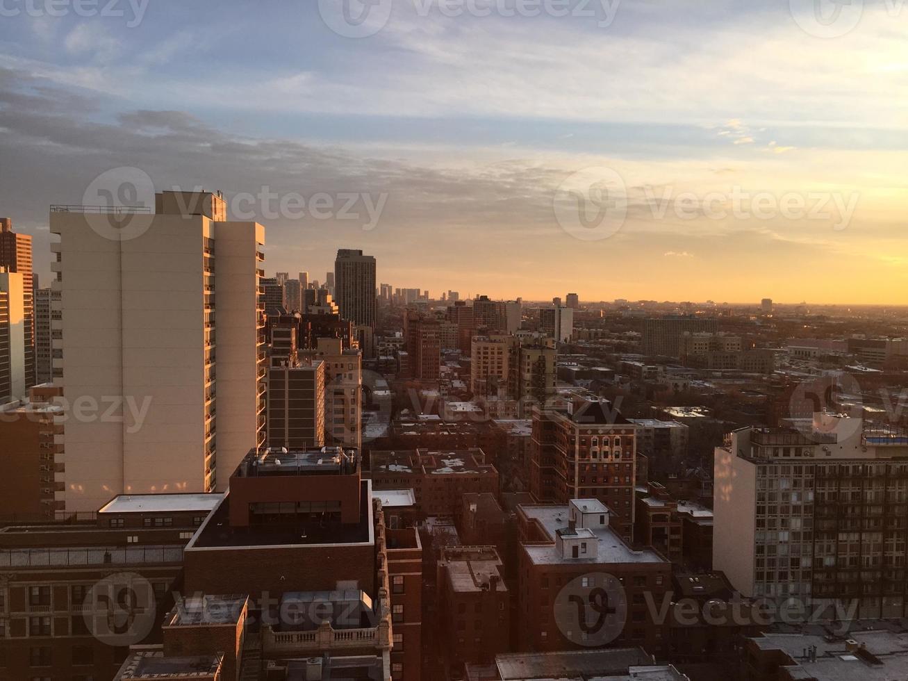 Chicago skyline schemering foto