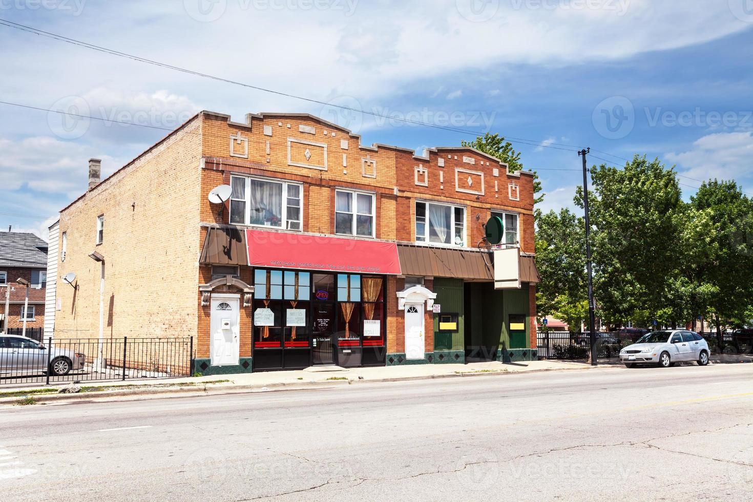 buurtbar en restaurant in boogschutterhoogten, chicago foto