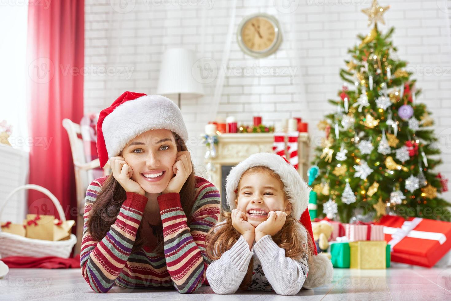 familie kerstviering foto