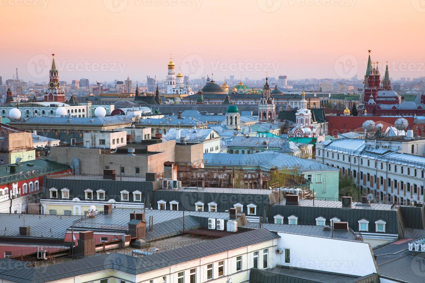 zonsondergang uitzicht over het centrum van Moskou, Rusland foto