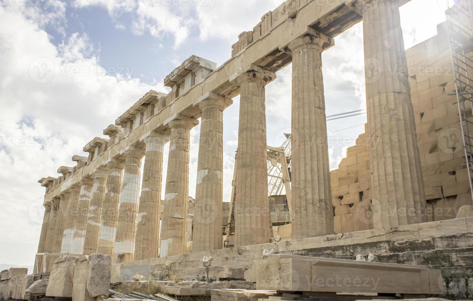 kolommen van de Akropolis foto