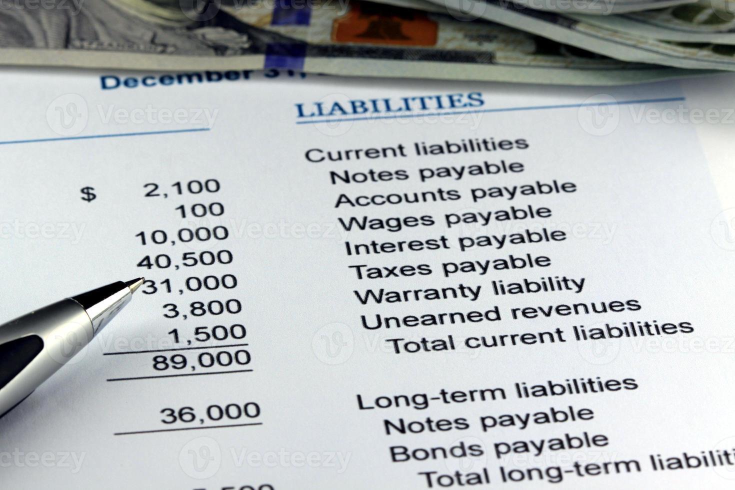 financiële begrotingsstaat bij ons valuta foto
