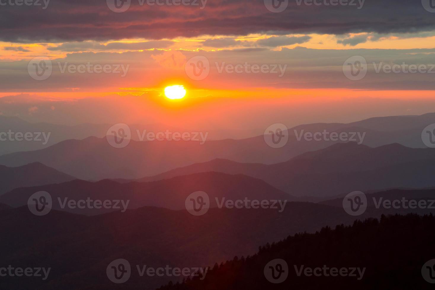 clingmans dome bij zonsondergang foto