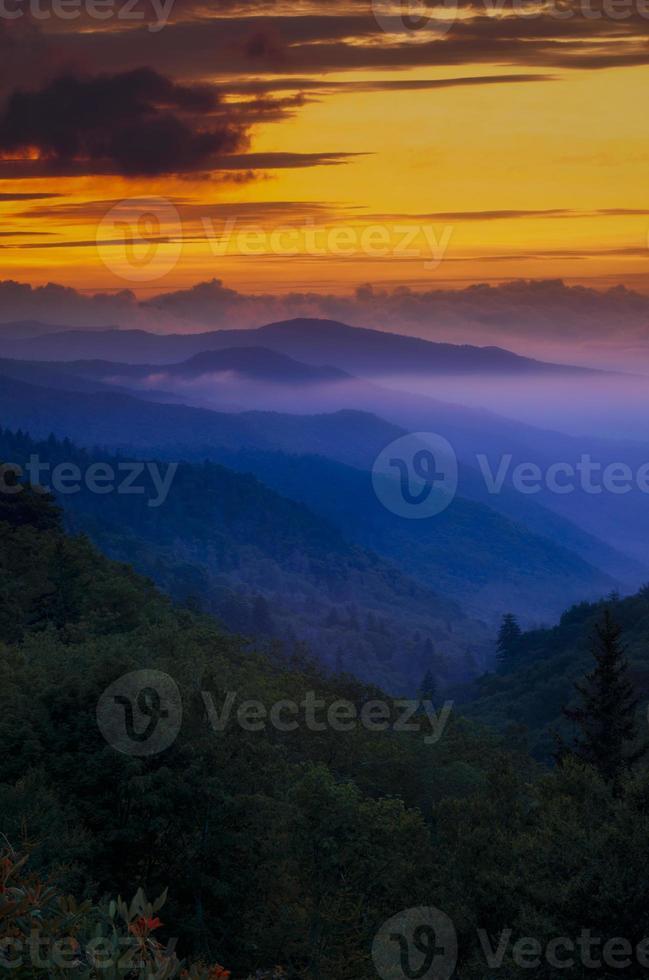 zonsondergang in de smokies foto