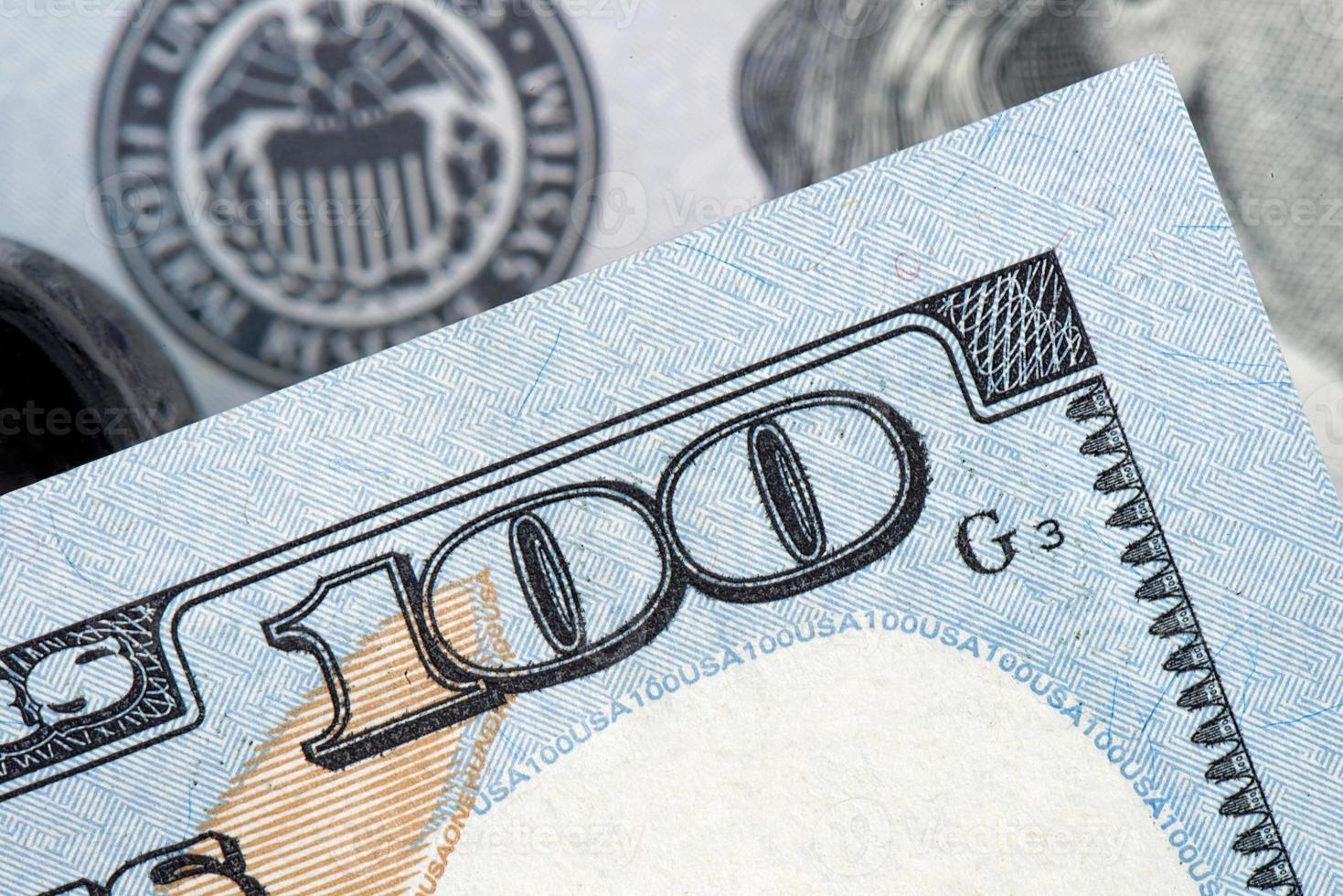 Amerikaans geld, honderd dollarbiljetten foto