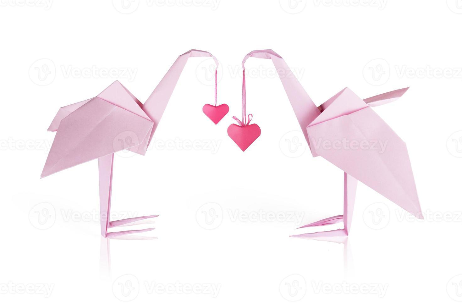 origami roze papieren flamingopaar foto