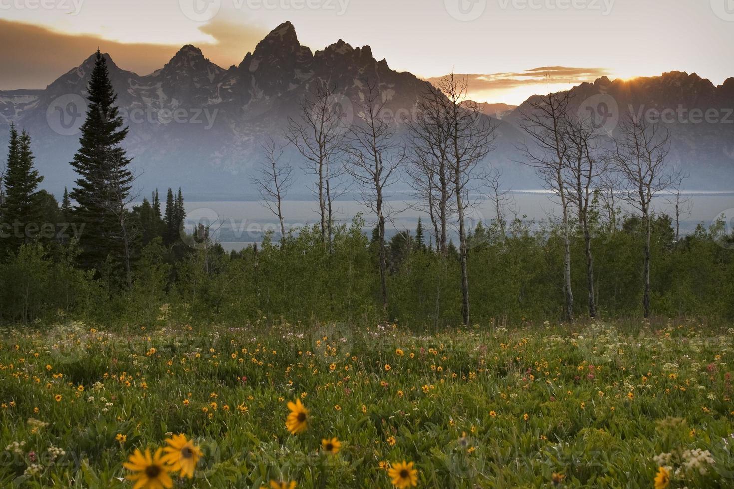 zonsondergang over de Grand Tetons van Shadow Mountain foto