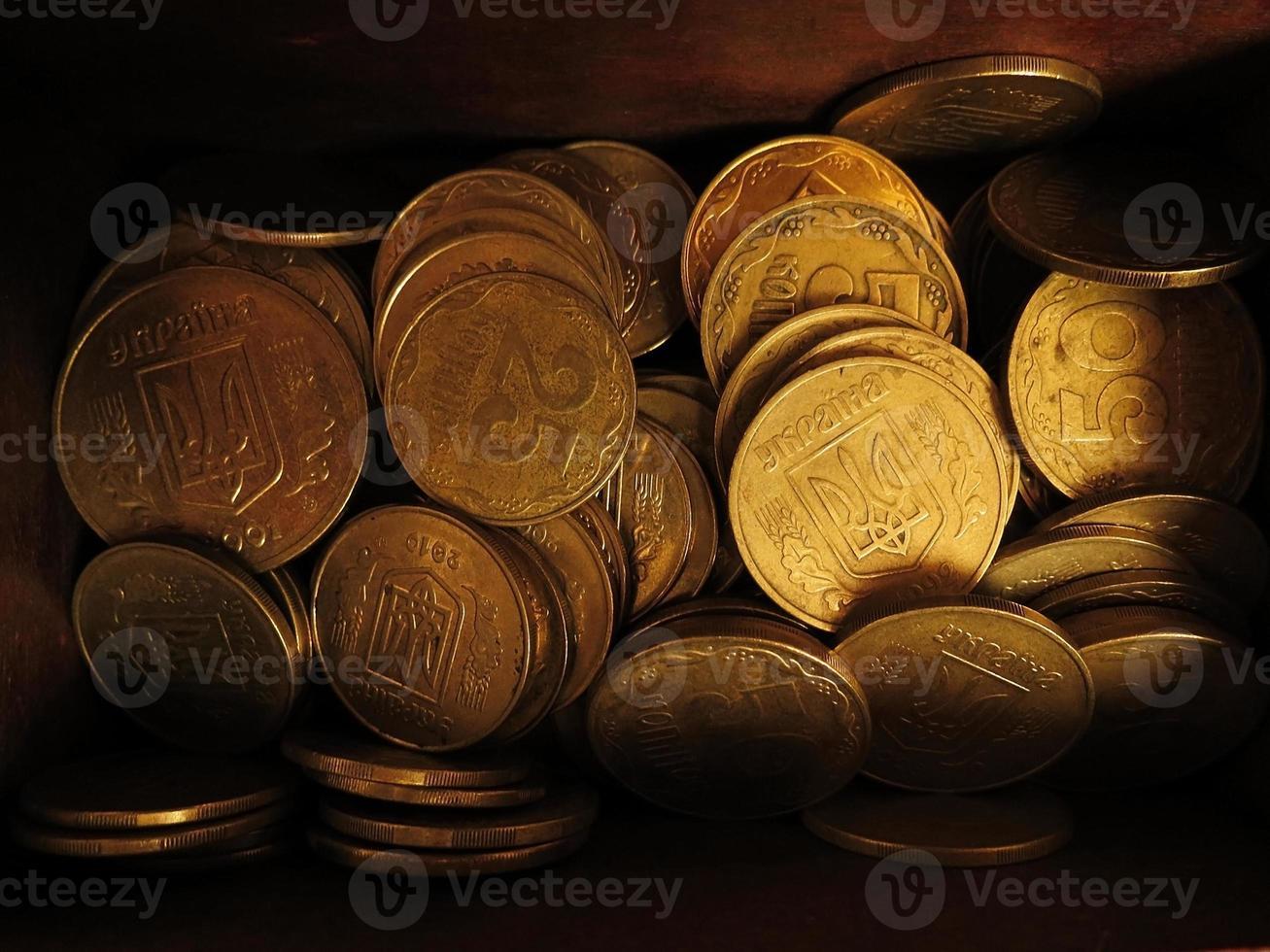 Oekraïens geld (hryvnia) in de borst foto