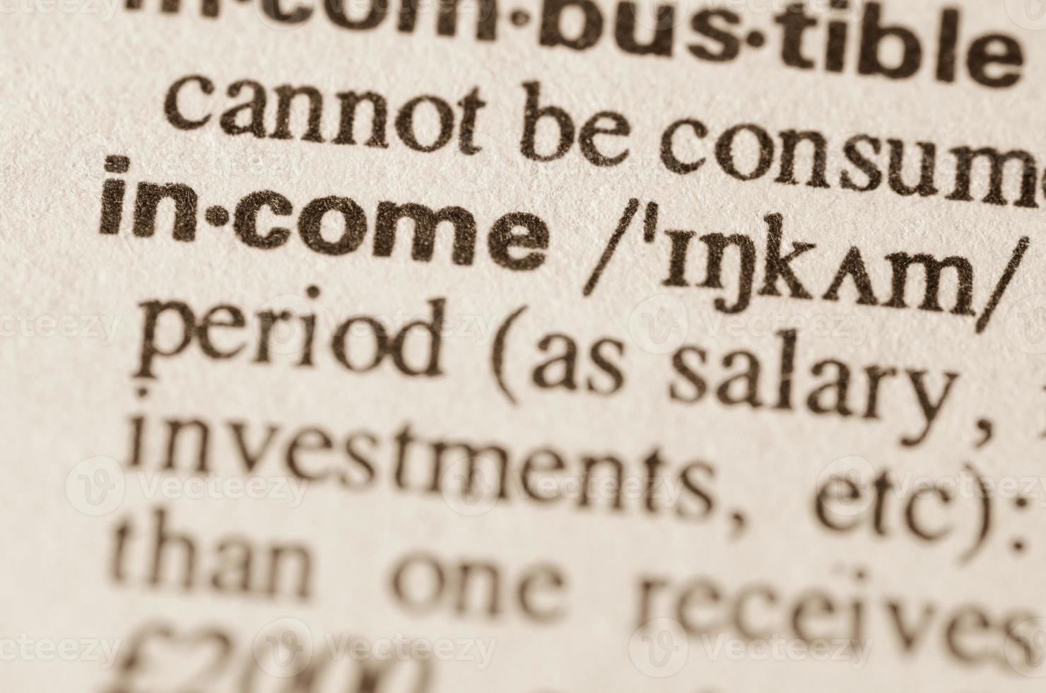 woordenboekdefinitie van woordinkomen foto