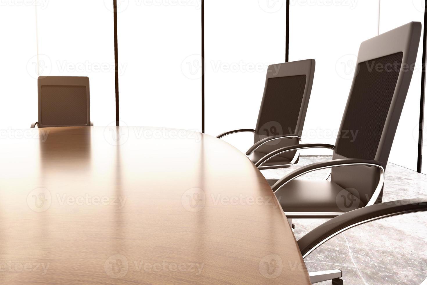 stoelen en vergadertafel op de betonnen muur foto
