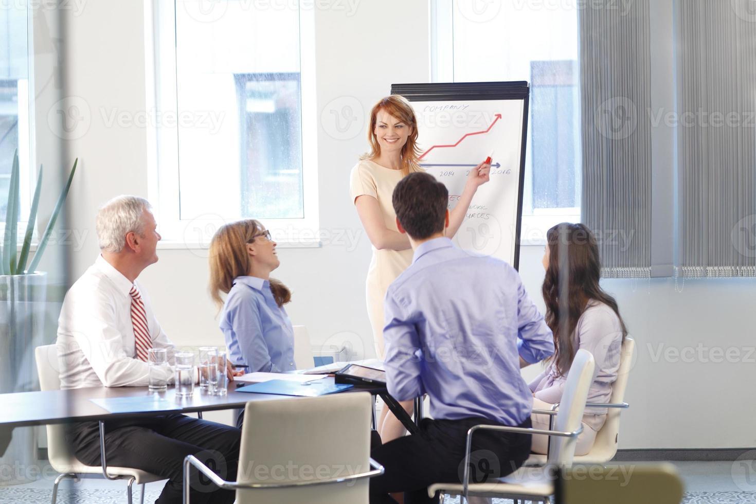 uitvoerende zakenvrouw tijdens vergadering foto