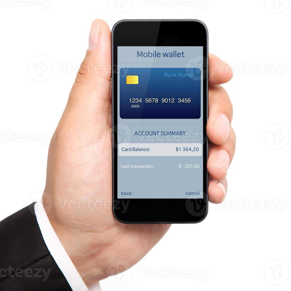 man hand met de telefoon met mobiele portemonnee online winkelen foto