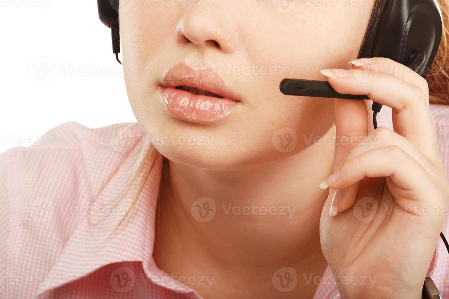 close-up portret van vrouwelijke medewerker van de klantenservice of ca foto